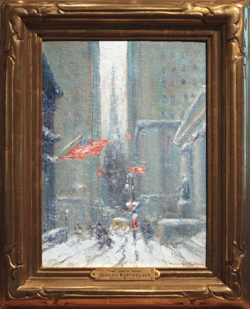 Johann Berthelsen Wall Street in Winter Oil Painting