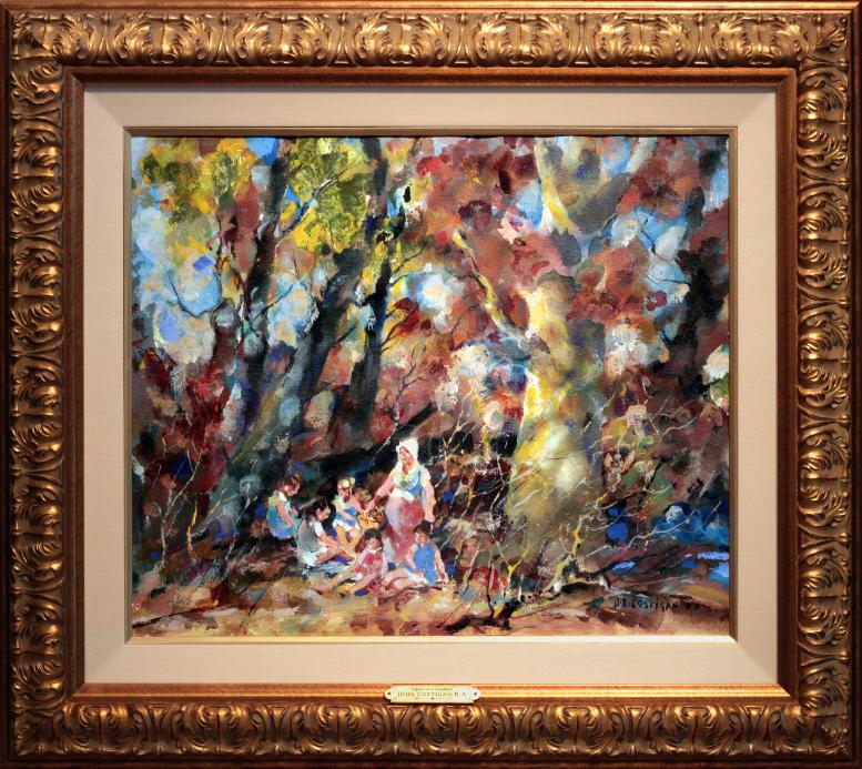 John Costigan Figures in a Woodland painting