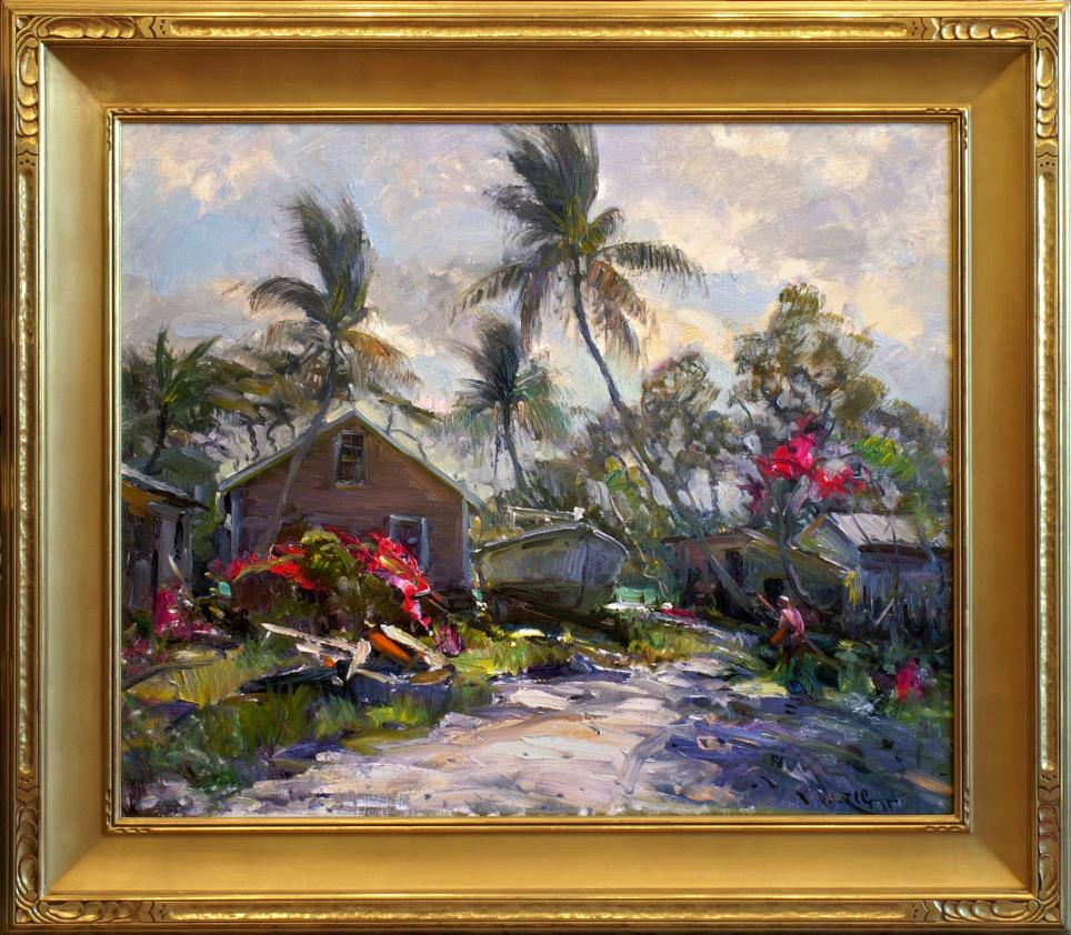 Robert Gruppe Florida Cottages Painting