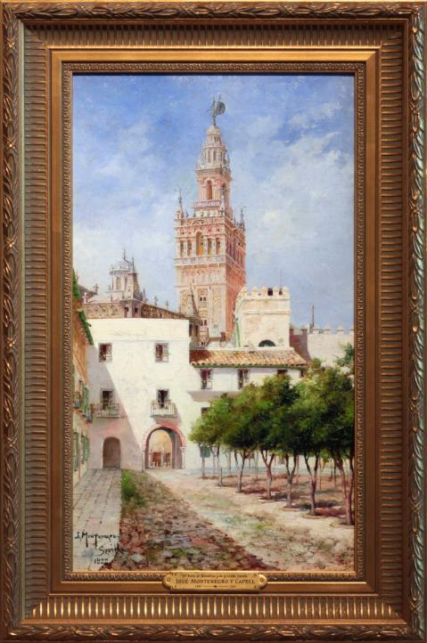 Oil Painting by Jose Montenegro y Capell, Patio de Banderas, Seville Spain