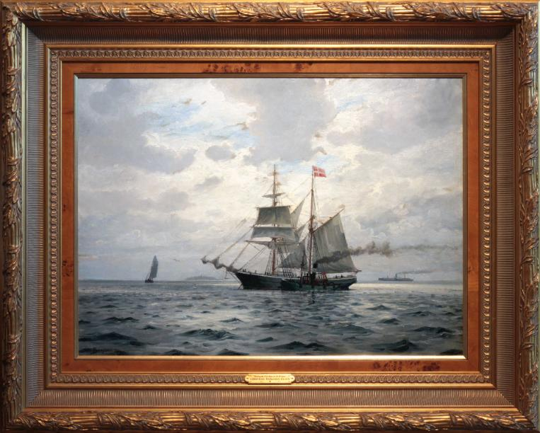 Marine Painting by Chr. Benjamin Olsen, Meeting the Pilot Boat