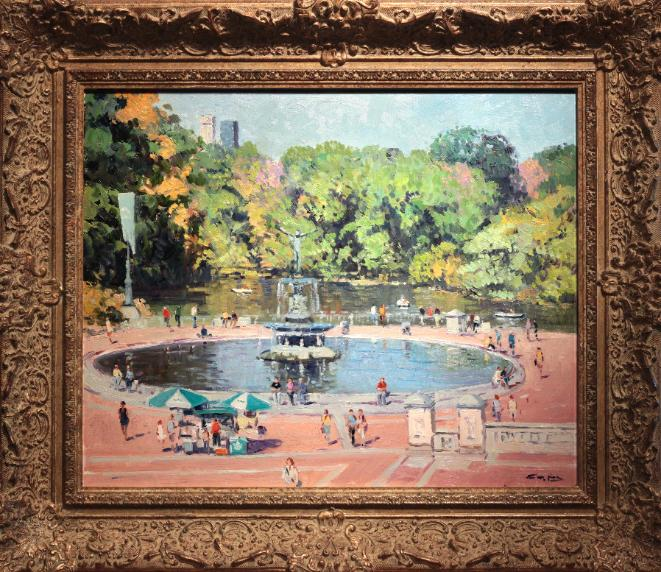Niek van der Plas Oil Painting Central Park NYC